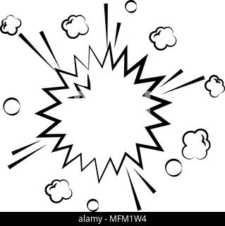 explosion pop art isolated icon - Stock Photo