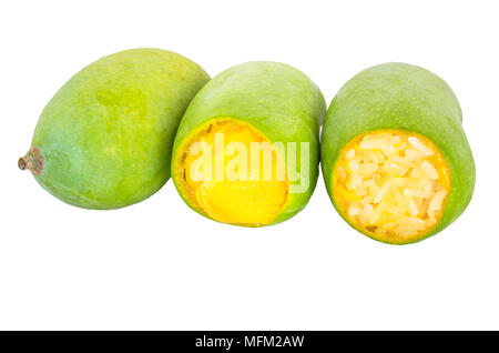 Abstract soft focus the rip of mango with sticky rice on the white backgroud.Local food in Thailand. - Stock Photo