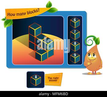 educational game for kids, puzzle. development of spatial thinking in children (suitable both for kids and adults). Task game How many blocks? - Stock Photo