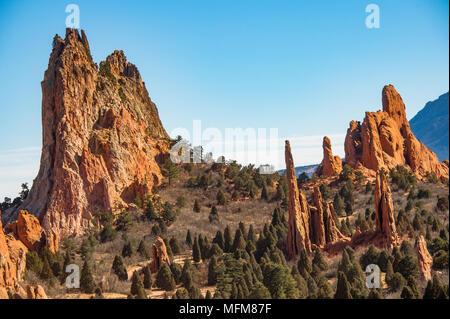 Cathedral Valley at the Garden of the Gods in Colorado Springs, Colorado, USA - Stock Photo