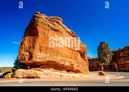 Steamboat Rock at the Garden of the Gods in Colorado Springs, Colorado, USA - Stock Photo