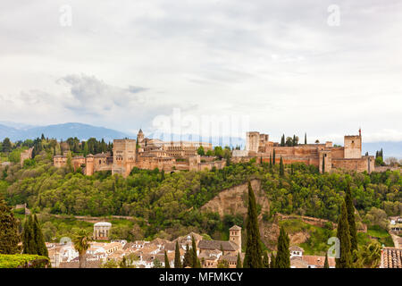 The famous moorish Alhambra palace and fortress at Granada, Spain - Stock Photo