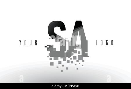 SA S A Pixel Letter Logo with Digital Shattered Black Squares. Creative Letters Vector Illustration. - Stock Photo