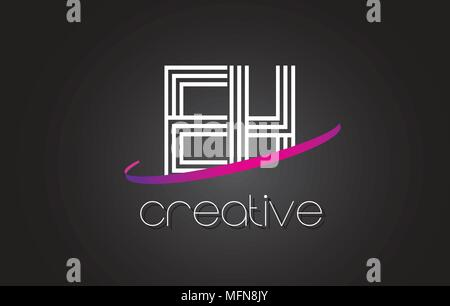 EH E H Letter Logo with Lines Design And Purple Swoosh Vector Letters Illustration. - Stock Photo