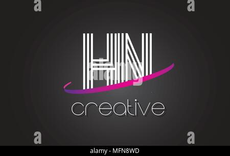 HN H N Letter Logo with Lines Design And Purple Swoosh Vector Letters Illustration. - Stock Photo