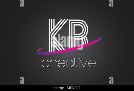 KB K B Letter Logo with Lines Design And Purple Swoosh Vector Letters Illustration. - Stock Photo