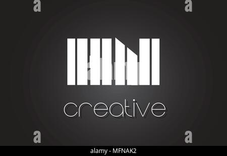 HN H N Creative Letter Logo Design With White and Black Lines. - Stock Photo