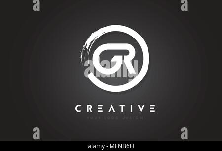 GR Circular Letter Logo with Circle Brush Design and Black Background. - Stock Photo