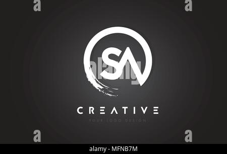 SA Circular Letter Logo with Circle Brush Design and Black Background. - Stock Photo