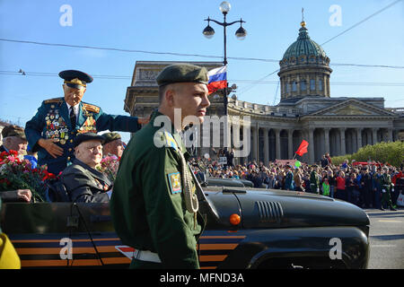 Procession of veterans of World War II on Victory Day - Stock Photo