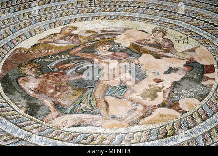 Close-up of a painting of Greek Gods on a mosaic wall   Ref: CRB247_10007_004  Compulsory Credit: Jeremy Hoare/Photoshot - Stock Photo
