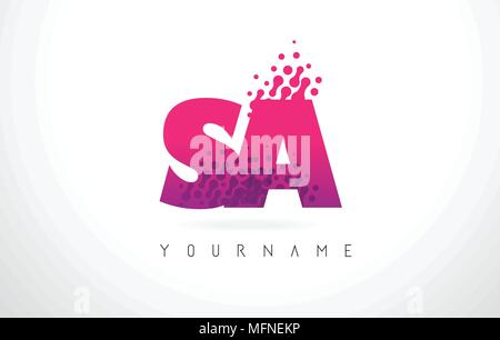 SA S A Letter Logo with Pink Letters and Purple Color Particles Dots Design. - Stock Photo