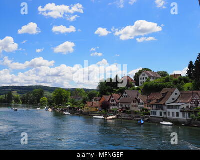 Picturesque european STEIN am RHEIN town in SWITZERLAND and Rhine River in swiss canton of Schaffhausen, alpine landscapes with medieval buildings, cl - Stock Photo
