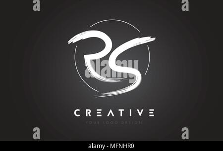 RS Brush Letter Logo Design. Artistic Handwritten Brush Letters Logo Concept Vector. - Stock Photo