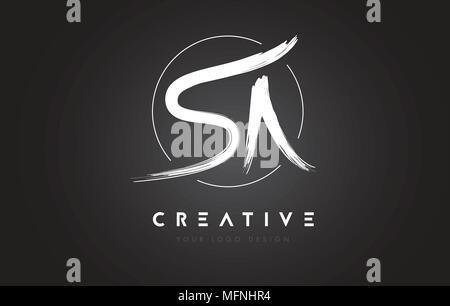 SA Brush Letter Logo Design. Artistic Handwritten Brush Letters Logo Concept Vector. - Stock Photo