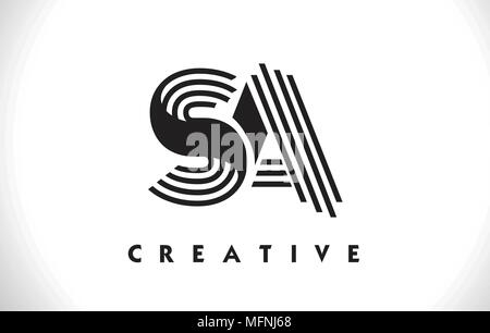 SA Letter Logo With Black Lines Design. Line Letter Symbol Vector Illustration - Stock Photo