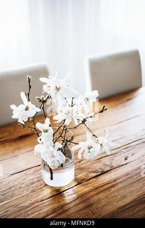 White magnolia twigs freshly cut from magnolia tree. Glass vase standing on wooden table with white magnolia flowers. First spring blossom, nature awa - Stock Photo