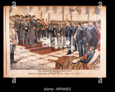 Nicholas II and Alexandra Feodorovna at St Petersburg, 29 April 1904, receiving the heroic sailors, survivors from the 'Varyag' and the 'Korietz', Russo-Japanese War. From 'Le Petit Journal', Paris, 8 May 1904. - Stock Photo