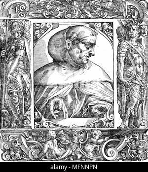 Albertus Magnus (c1200-1280) Italian Dominican friar called 'Doctor Universalis'. Bishop of Ratisbon, 1260. Melded theology and Aristotelianism. 16th century portrait woodcut. - Stock Photo