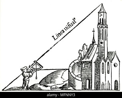 Using a quadrant with a plumb bob to calculate the height of a tower by triangulation. From Sebastian Munster 'Rudimenta Mathematica', Basle 1551. Woodcut - Stock Photo