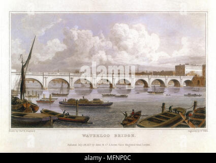 Waterloo Bridge, London, across the Thames. Built by John Rennie (1761-1821) between 1811 and 1817. Coffer dams used instead of caissons. Illustration by Thomas Hosmer Shepherd (fl.c. 1817-1842) for 'Metropolitan Improvements', London, 1817. Hand-coloured engraving. - Stock Photo