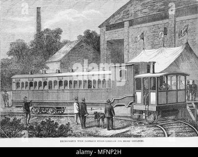 Fairlie's Steam Carriage.  Light railway steam locomotive for use on branch lines. 1869 - Stock Photo