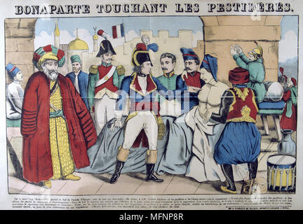 Napoleon I in the Pesthouse at Jaffa touching plague victims, 11 March 1799.. Propaganda story putting him on the same plane as annointed kings who could effect miraculous cures through  divine intervention. 19th century French popular hand-coloured woodcut. - Stock Photo