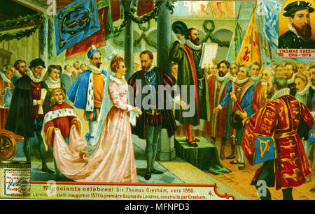 Elizabeth I inaugurating the first Royal Exchange, London, 1571. The Exchange was built by Thomas Gresham (1519-1579).  Chromolithograph trade card. - Stock Photo