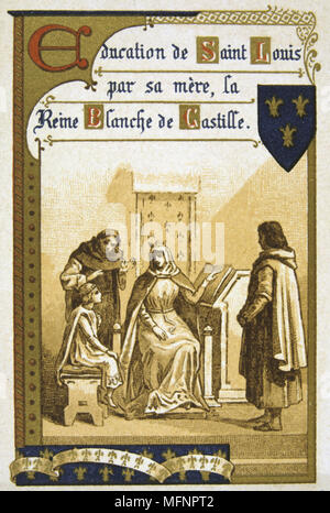 Louis IX (Saint Louis 1214-1270) King of France from 1226. Louis being educated by his mother Blanche of Castile who acted as Regent from 1226 to 1234. Nineteenth Century Trade Card Lithograph - Stock Photo