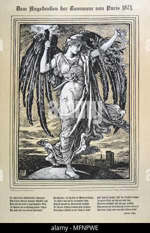 Allegorical representation of the Angel of the Paris Commune (26 March-28 May 1871). Illustration by Walter Crane (1845-1915) English artist, published in Germany. - Stock Photo