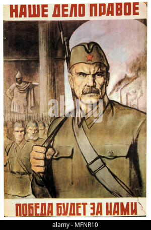 Our Cause is Just. Victory will be ours', 1941.  Soviet propaganda poster. USSR Russia Communism Communist - Stock Photo