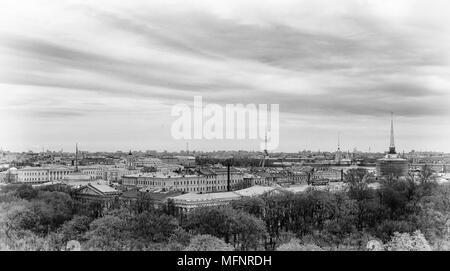 Panorama of Saint Petersburg in black and white, Russia - Stock Photo