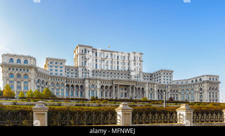 Palace of the Parliament (Palatul Parlamentului), Bucharest, Romania.  Palace is the world's largest civilian building with an administrative function - Stock Photo