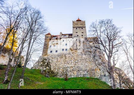 Bran Castle (Dracula Castle) on the top of the rock, Transylvania, Bran, Romania - Stock Photo