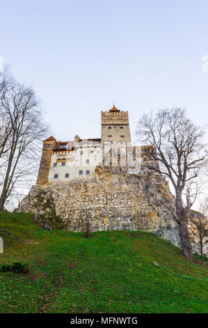 Bran Castle (Dracula Castle) on the top of the rock, Transylvania, Bran, Romania - Stock Photo