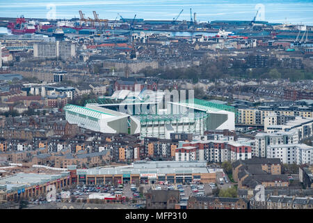 View across Edinburgh towards Easter Road Stadium, home of Hibernian Football. Club, Edinburgh, Scotland, UK - Stock Photo