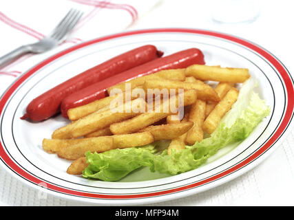 Plate with Sausage and French Fries - Stock Photo