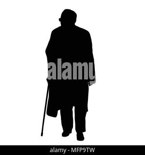 Old man silhouette on white background, vector illustration - Stock Photo