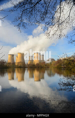 drax coal powered power station reflected in lake drax yorkshire united kingdom - Stock Photo