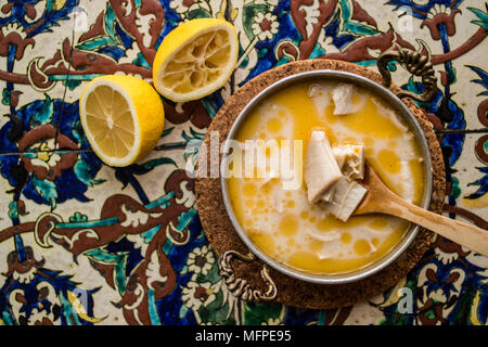 iskembe Tripe Soup is a common dish in Balkan, Bulgarian, Greek, Turkish, and Eastern European cuisine / cobra / chorba - Stock Photo
