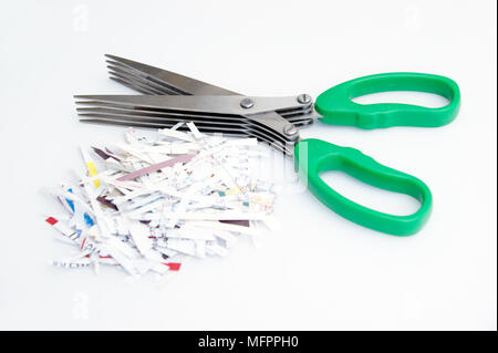 5 blade shredder scissors for shredding personal information / documents to stop fraud & identity theft with a small pile of shreddies - Stock Photo