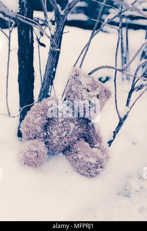 a forgotten teddy in the snow - Stock Photo
