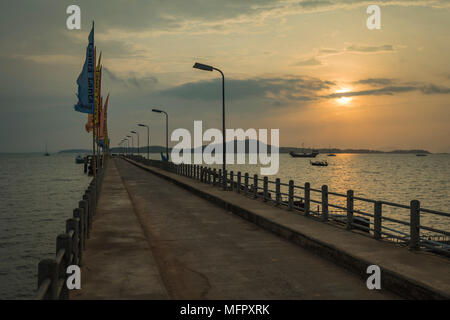 Pier at Sunrise Koh Lanta, Thailand - Stock Photo