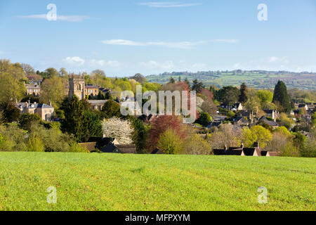 View over Cotswold village of Blockley and countryside in spring. - Stock Photo