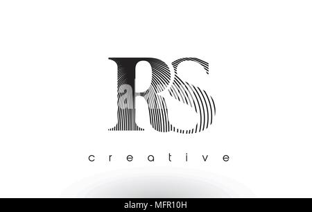 RS Logo Design With Multiple Lines. Artistic Elegant Black and White Lines Icon Vector Illustration. - Stock Photo