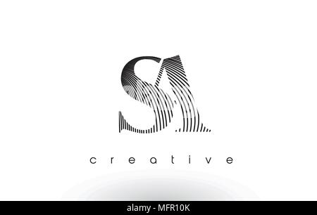 SA Logo Design With Multiple Lines. Artistic Elegant Black and White Lines Icon Vector Illustration. - Stock Photo