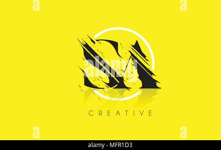 SA Letter Logo with Vintage Grundge Cut Design. Destroyed Drawing Elegant Letter Icon Vector. - Stock Photo