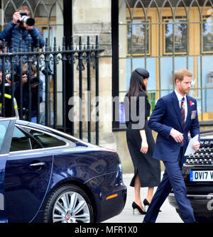 Anzac Day 2018 Service of Commemoration at Westminster Abbey.  Prince Harry and Meghan Markle leave after the service - Stock Photo