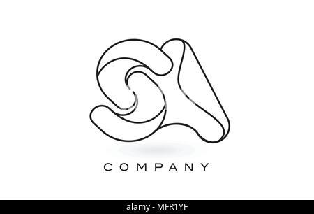 SA Monogram Letter Logo With Thin Black Monogram Outline Contour. Modern Trendy Letter Design Vector Illustration. - Stock Photo