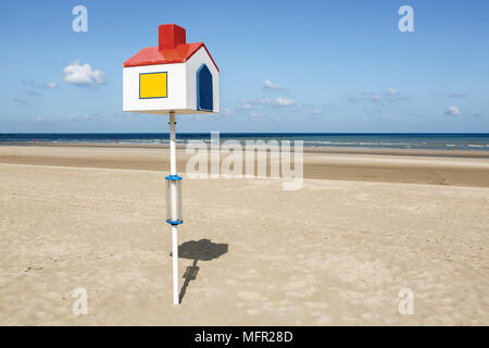 One of several orientation points on the beach at Dunkerque, France - Stock Photo